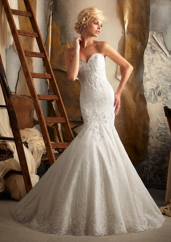 Fresh Mori Lee Bridal Venice Appliques on Chantilly Lace