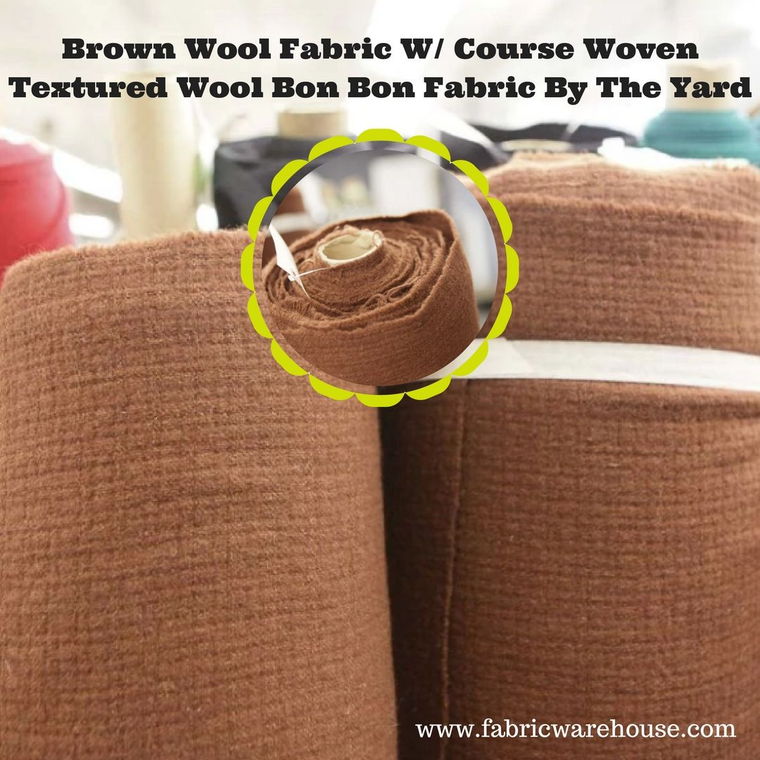 Brown Wool Fabric With Course Woven Textured Wool Bon Bon Fabric By