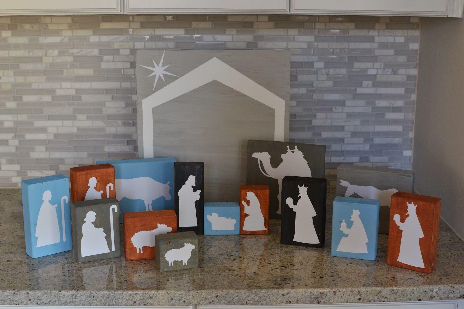 DIY Wood Block Nativity Set Diy nativity, Nativity set