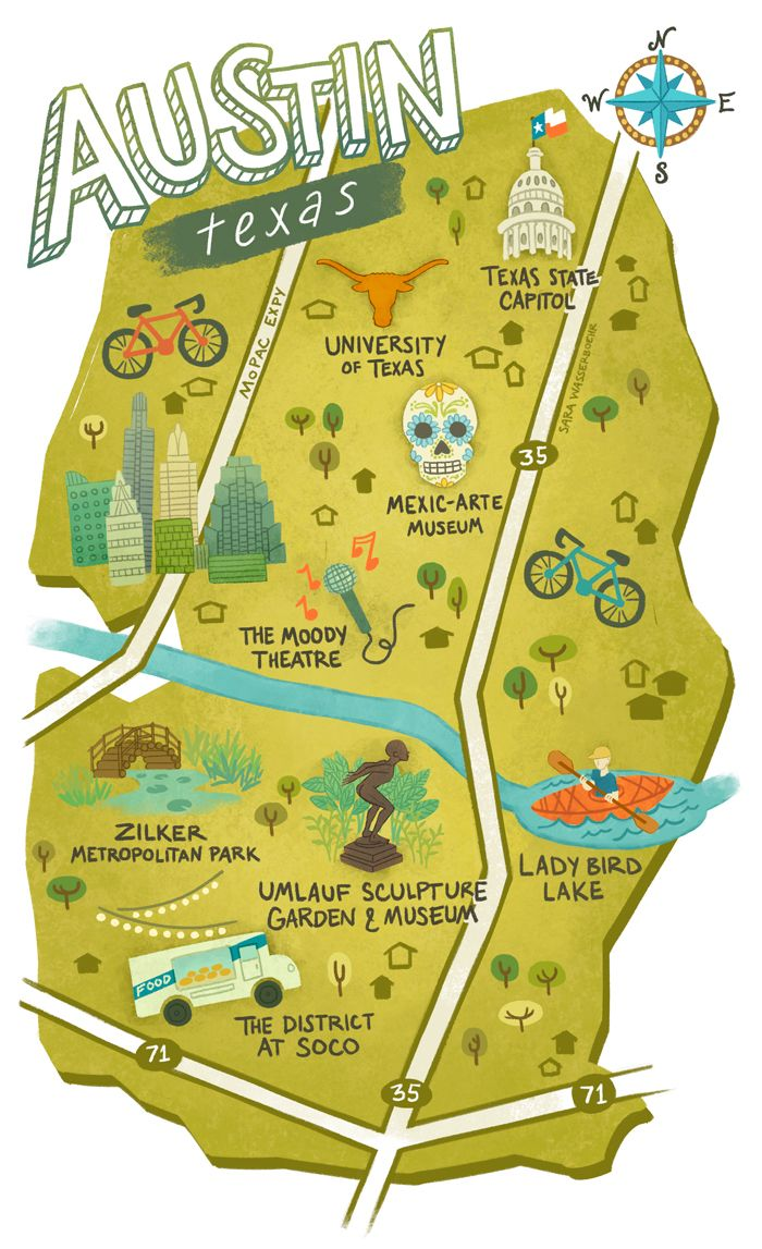 austin tx on map Illustrated Maps Of Atlanta Ga Austin Tx And Seattle Wa For austin tx on map
