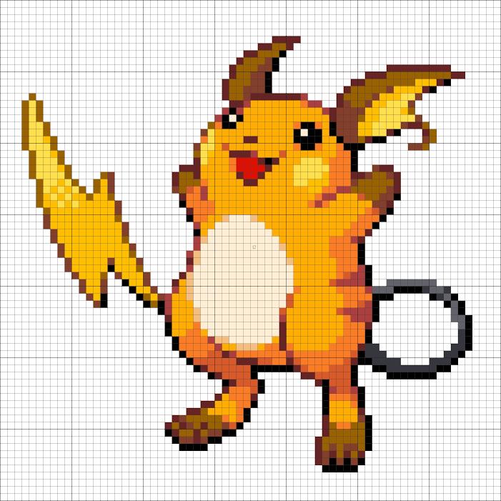 26 Raichu Minecraft Pixel Art Pixel Art Pokemon Cross