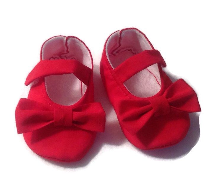 A personal favorite from my Etsy shop https://www.etsy.com/listing/177006129/baby-girl-shoes-red-mary-janes-with-bows