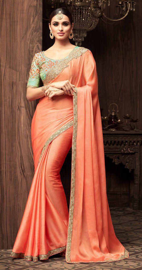 f048c95a74b3f6 Sandalwood Gold Peach and Green Combination Saree #IndianWeddings ...
