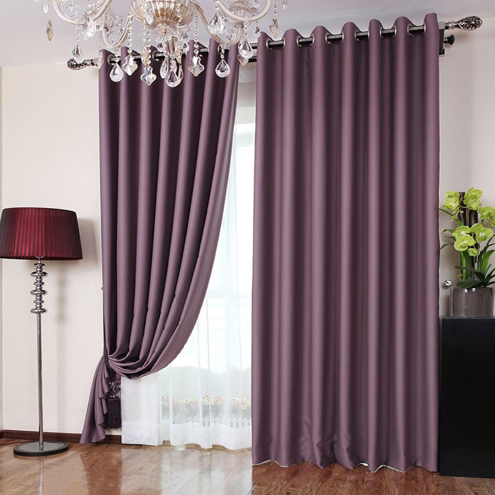 Polyester Fabric Bedroom Romantic Purple Blackout Curtains