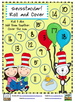 Seusstacular! Roll and Cover (Adding 3 Numbers)