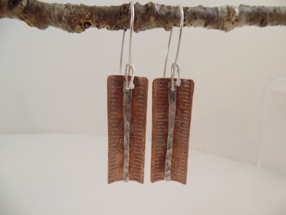 Etched copper & hammered sterling earrings by RustyWing on Etsy $25