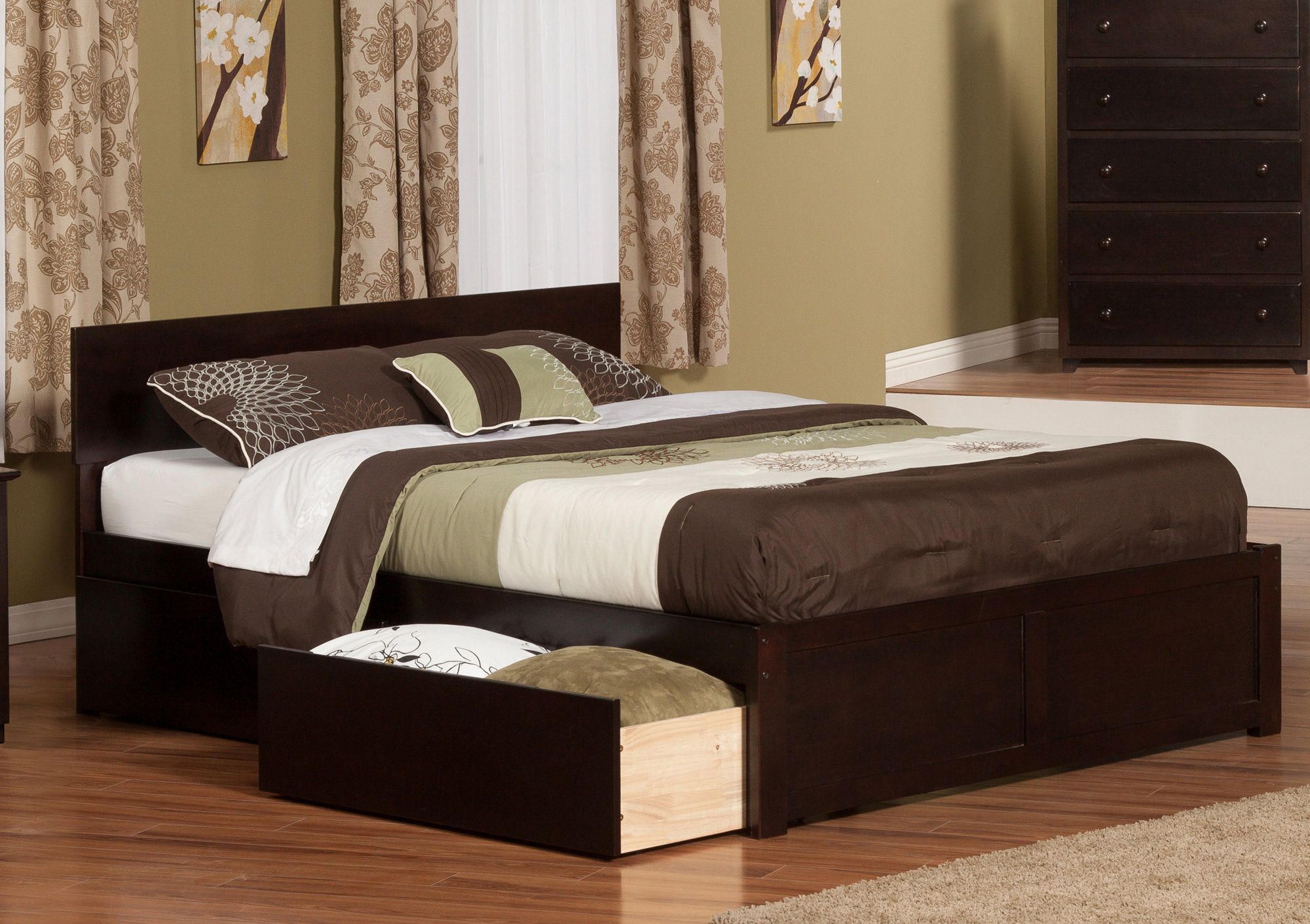 Cherry King Storage Platform Bed