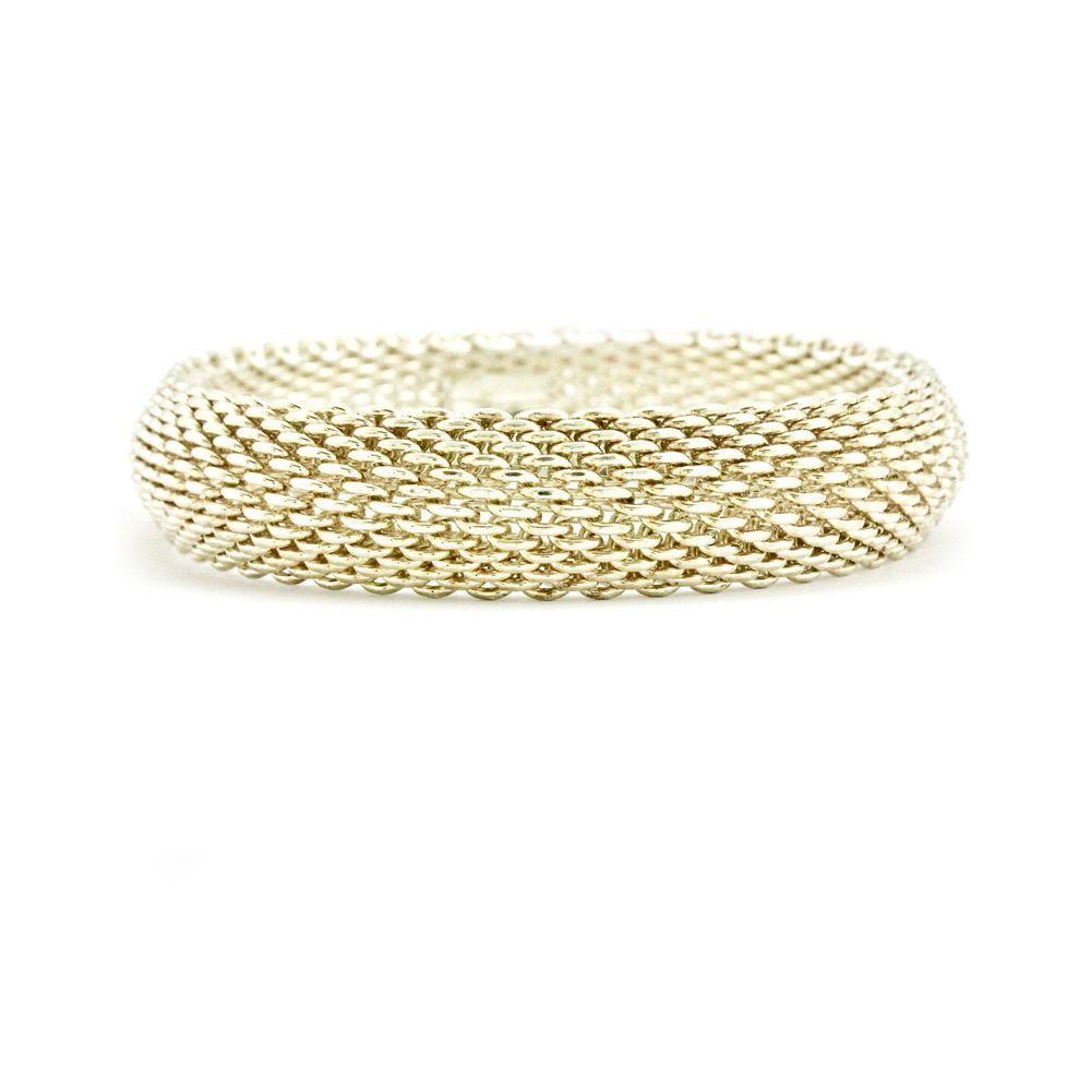 71f22b8af Tiffany & Co. Somerset Narrow Bangle in 925 Sterling Silver Mesh Bracelet  Medium #TiffanyCo #Bangle