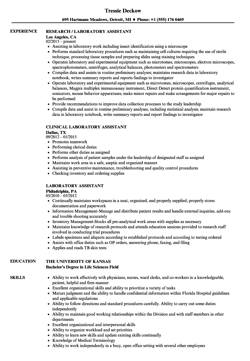 Laboratory Assistant Resume Samples Resume, Resume tips