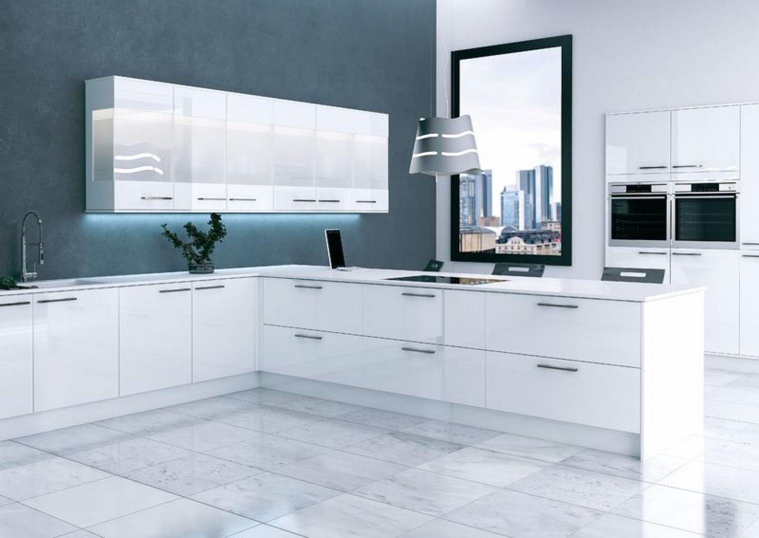 Altra Pure White Finish Contemporary Modern Kitchens  # Muebles Wimpy Bogota