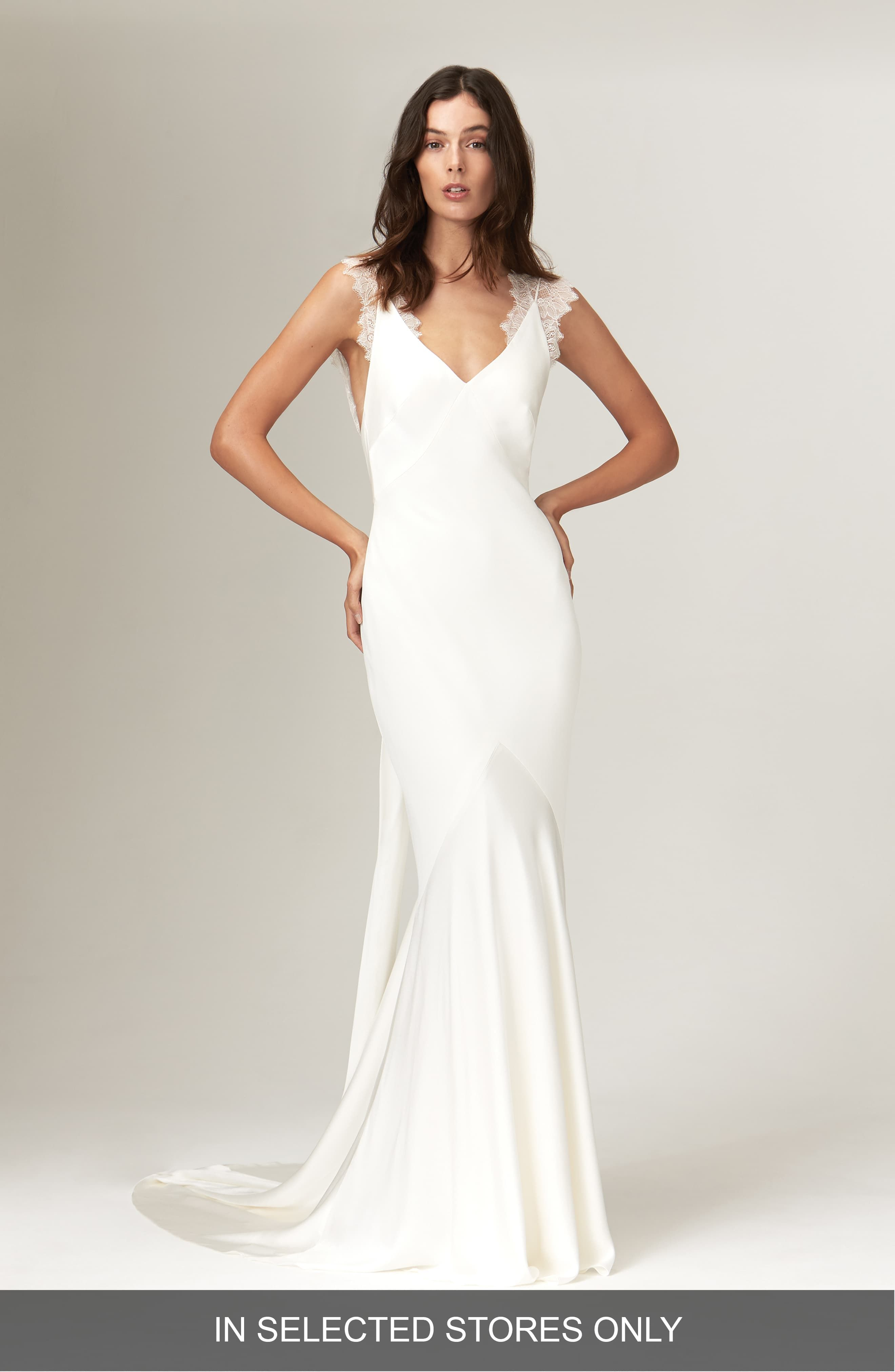 Womens Savannah Miller Alma Satin V-Neck Lace Detail Wedding Dress, Size  – Ivory