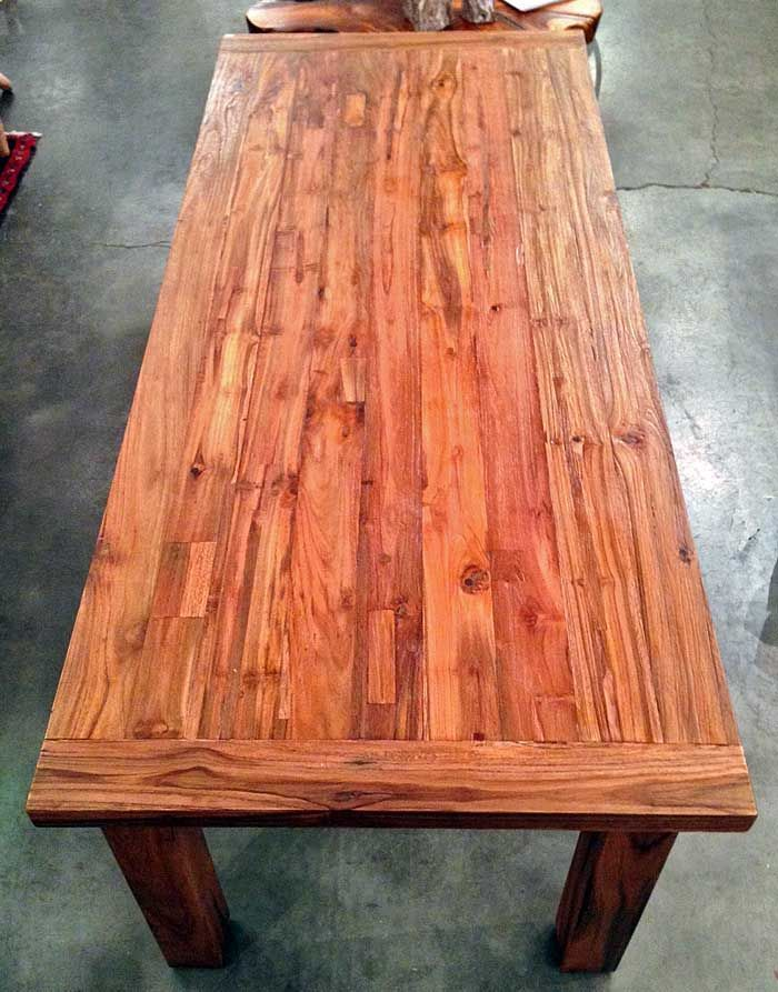7 foot dining table bench foot long wide thick reclaimed teak dining table with four legs made from salvaged old growth wood railroad ties and trestle