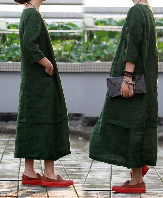 067Washed Ramie Green Dress Three Quarters Sleeve Long by EDOA