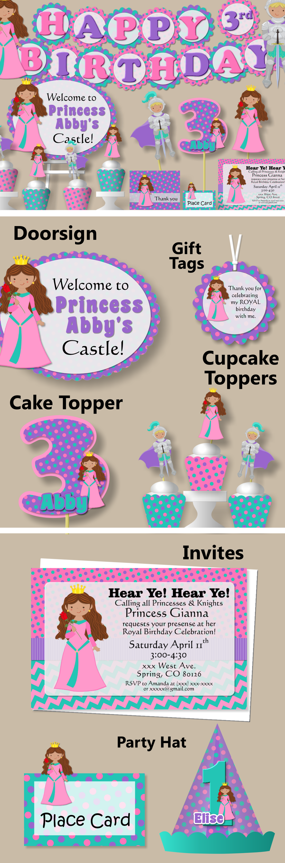 Princess and Knight Birthday Party Decorations - Package, Banner ...
