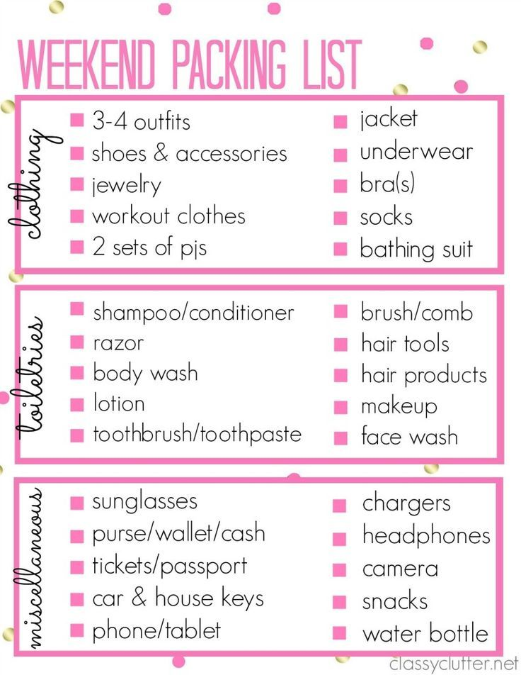 Printable Packing List For A Weekend Trip  Weekend Trips Travel
