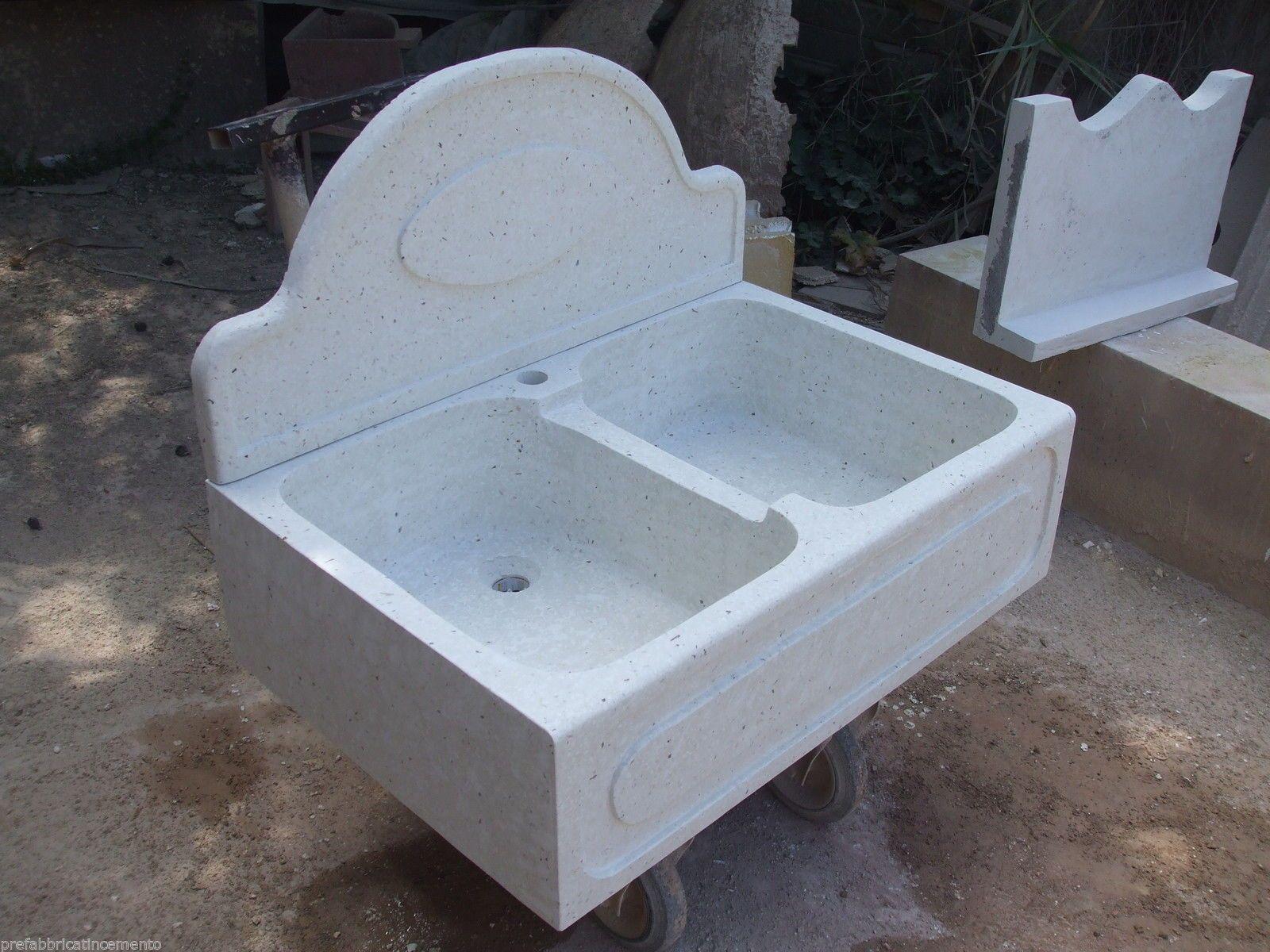 Lavandino Cucina Con Gocciolatoio lavello in cemento e graniglia di marmo di carrara di colore