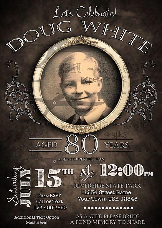 Vintage Birthday Invitation Digital Printout Aged Invite Milestone Men And Women Classic