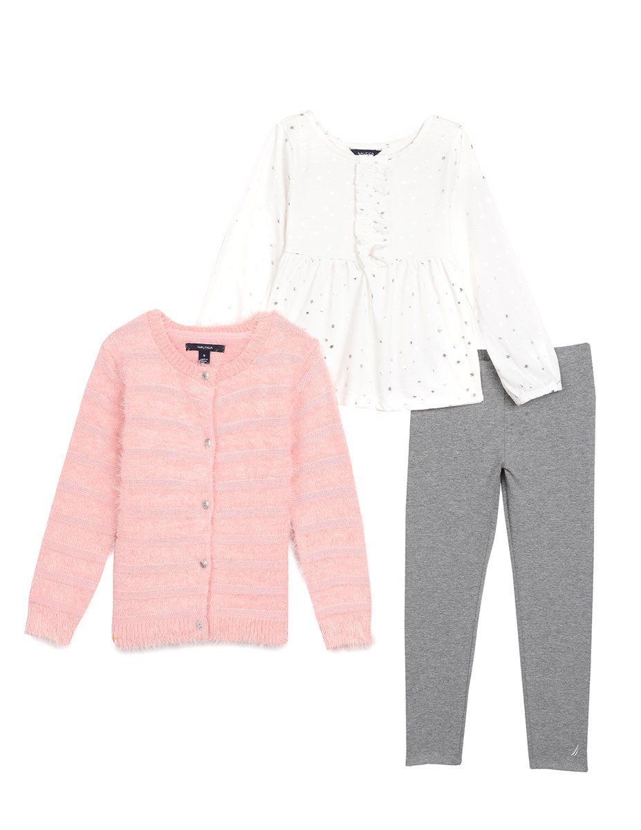Nautica Little Girls' Fuzzy Sweater Cardigan with Foil Top and ...