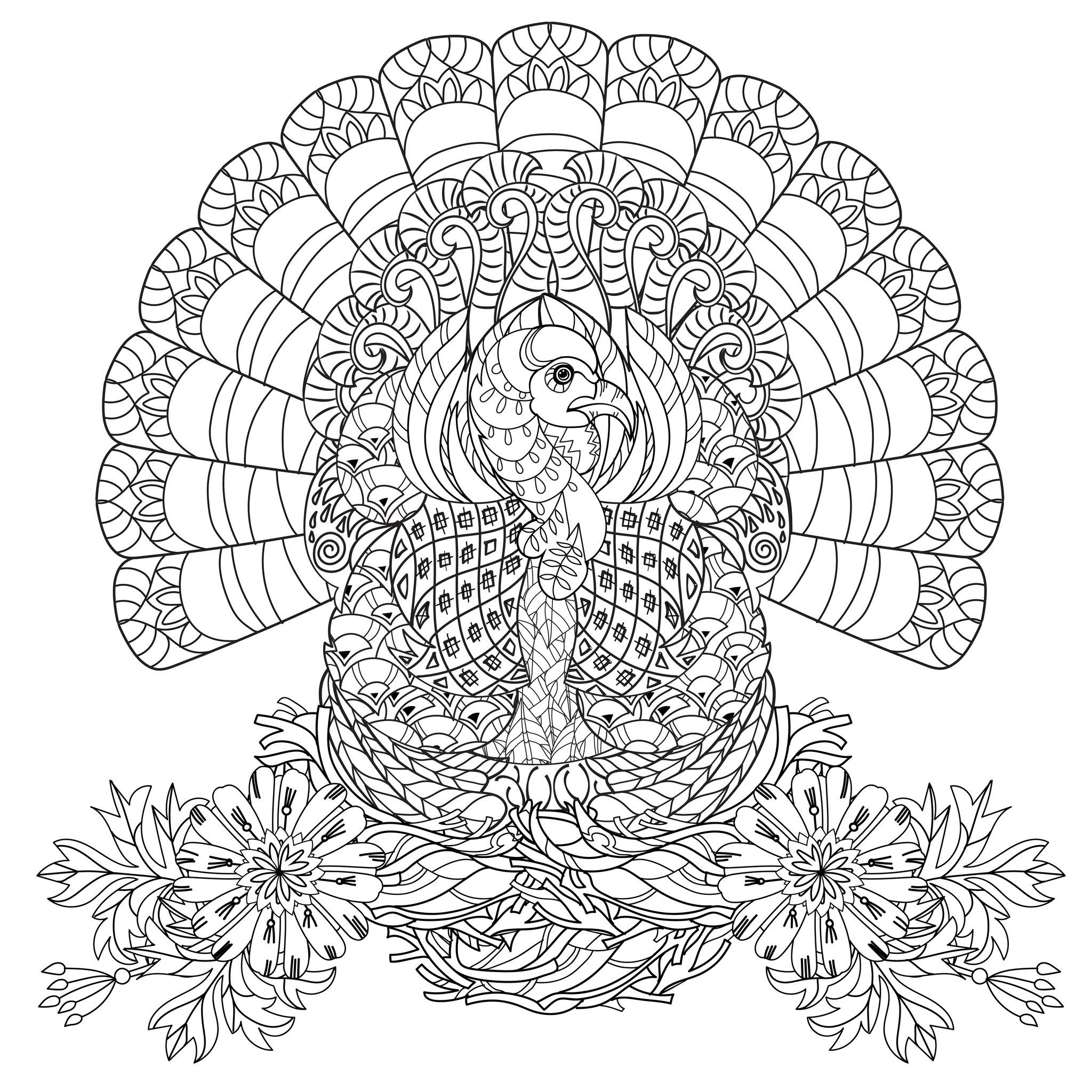 Printable adult thanksgiving coloring sheet - Beautiful Turkey Very Well Decorated With Flowers The Perfect Coloring Page Thanksgiving