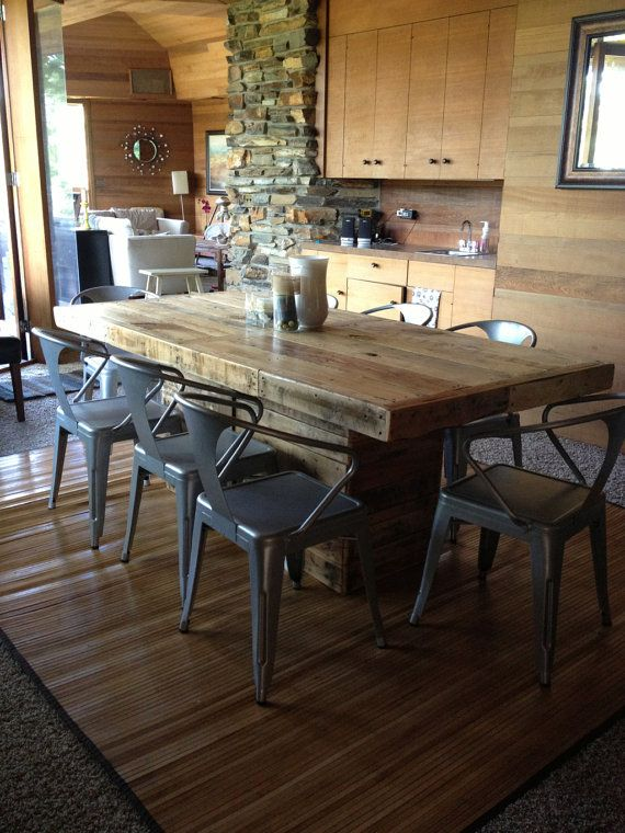 "dining room bench table | Rustic Dining Table Made from Reclaimed Wood 30"" x 50 ..."