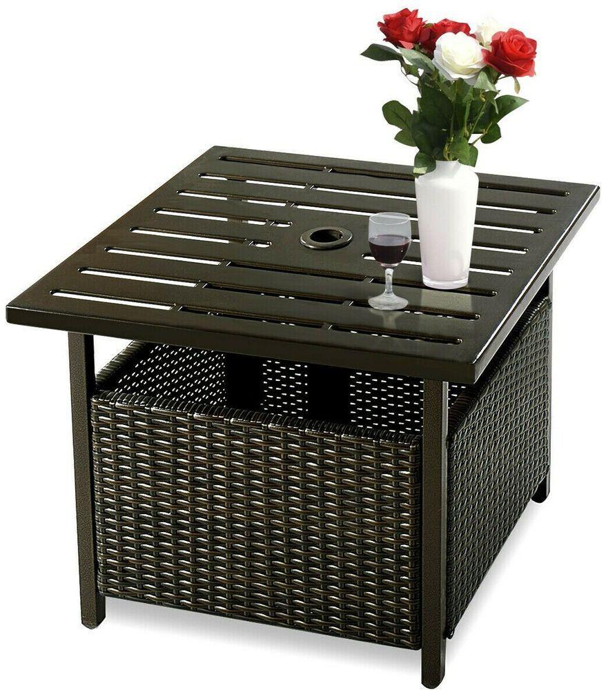 Rattan Coffee Table Umbrella Hole Outdoor Patio Wicker Steel Deck