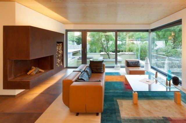Wohnzimmer einrichten Ideen Teppich Petrolblau Karamellfarbe - architekt wohnzimmer