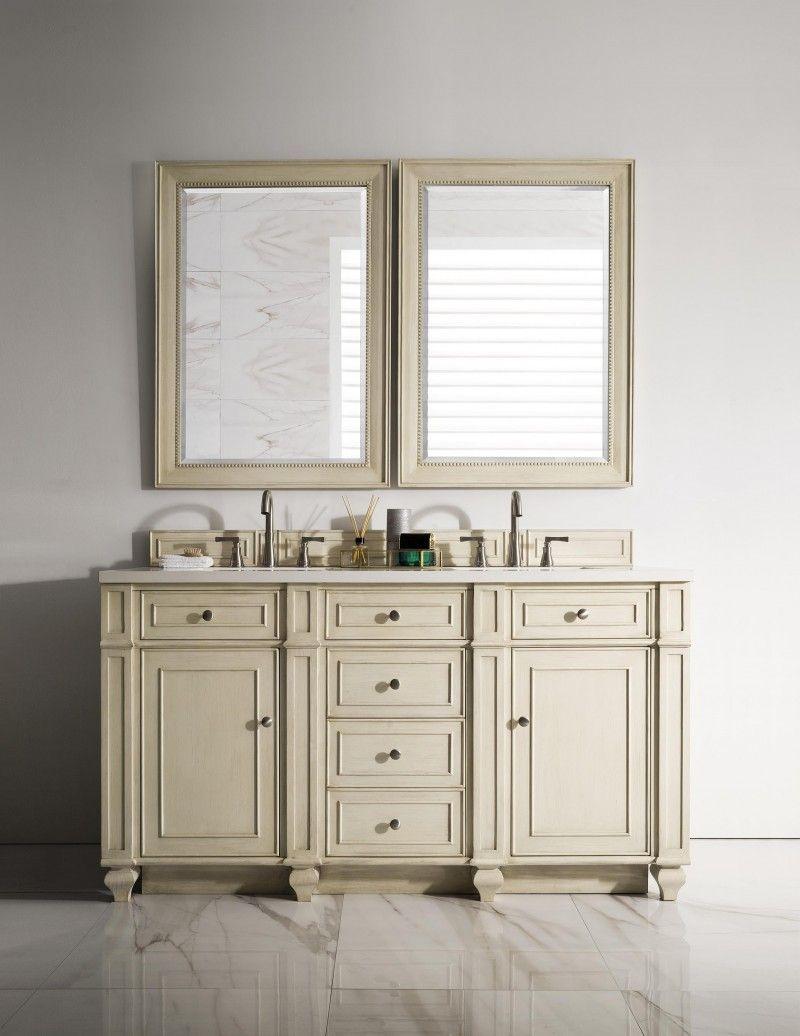 60 inch Double Sink Bathroom Vanity Vintage Vanilla Finish