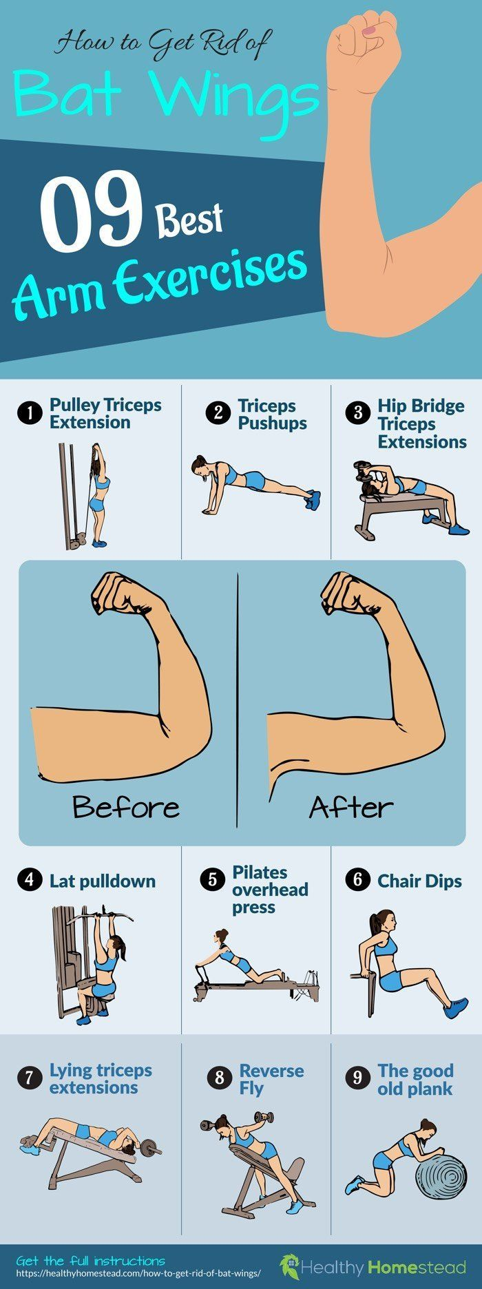 How To Get Rid Of Bat Wings Best Arm Exercises Arm Workout Wings Workout Bat Wing Exercises