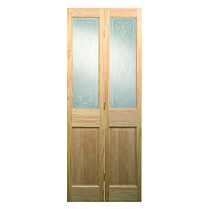 Wickes Skipton Internal Clear Pine Glazed 4 Panel Bi-fold Door ...