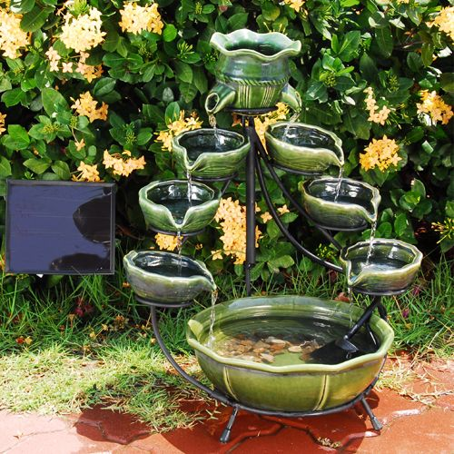 Duo Green Cascade Ceramic Ocean Solar Fountain Garden Water Fountains Solar Fountain Garden Fountains