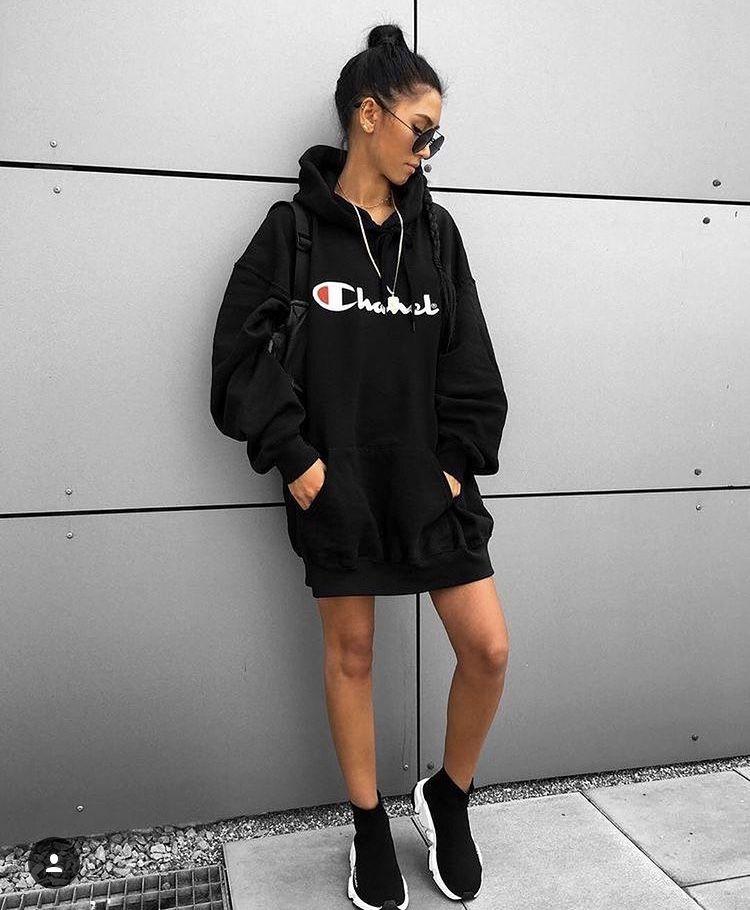 291ee03f52c6 Champion Black Hoodie Dress