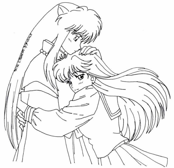inu-kagome-coloring-page.jpg (696×671) | Inuyasha | Pinterest