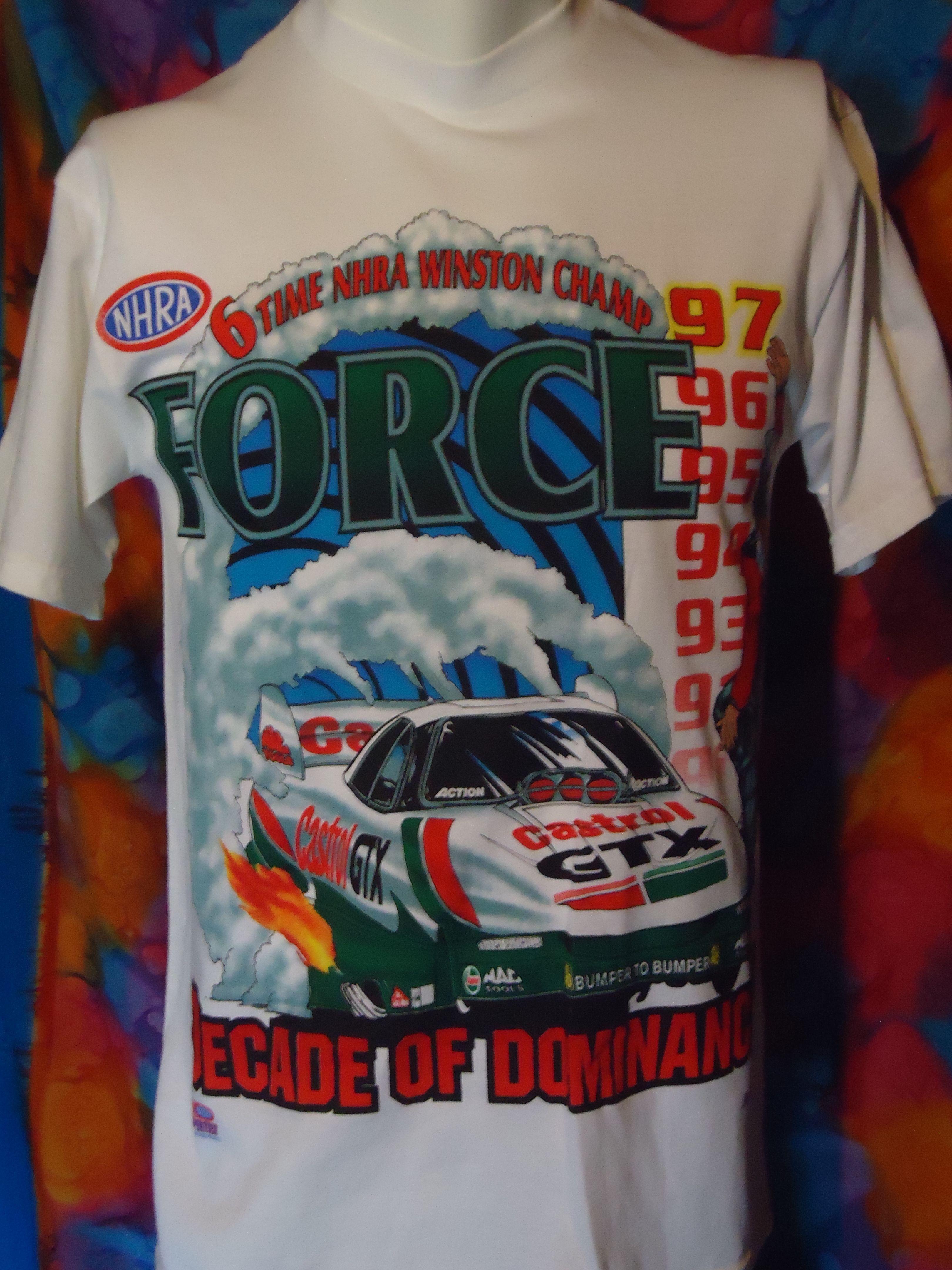 John Force Autograph Drag Race T-shirt mens XL