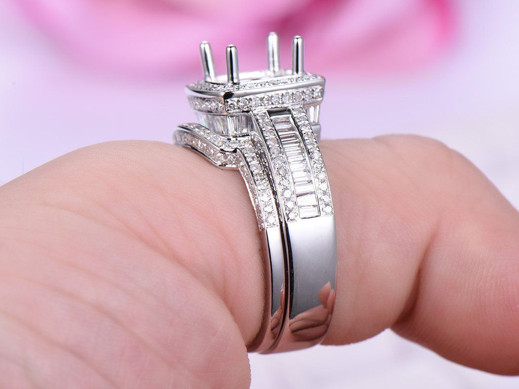Diamond Engagement Ring Semi Mount Bridal Sets Pave Diamond Wedding ...