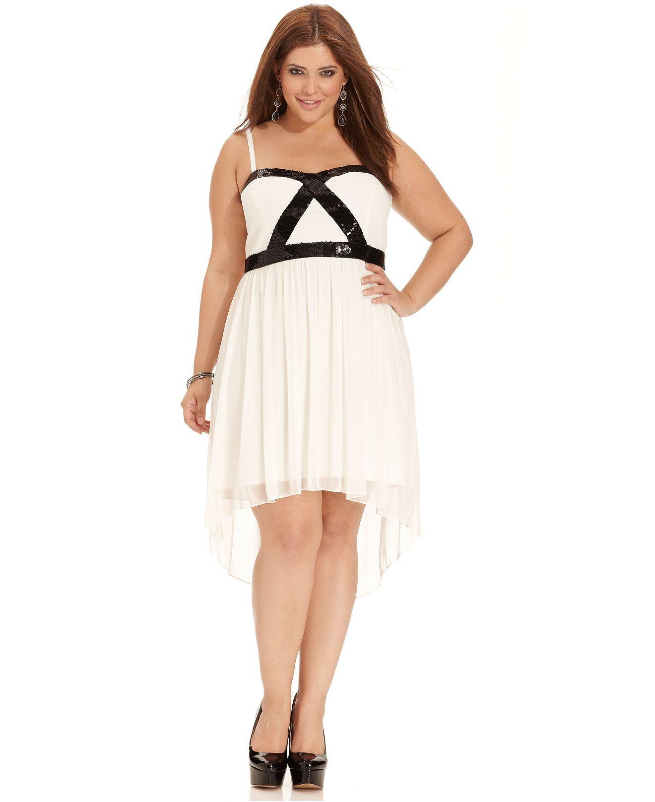 Trixxi Plus Size Dress, Sleeveless Sequin High-Low - Plus ...