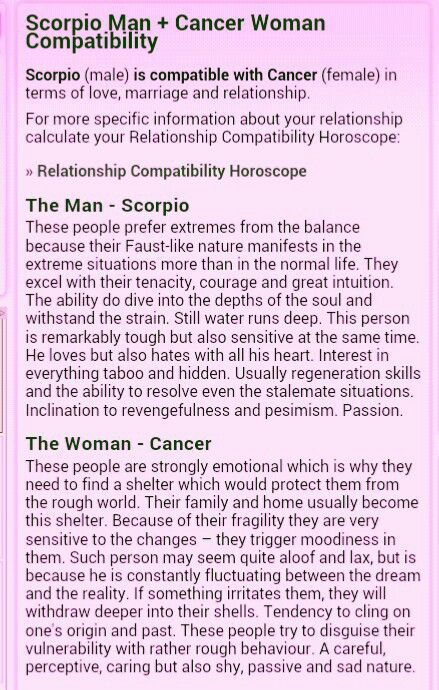 Compatibility of cancer woman and scorpio man