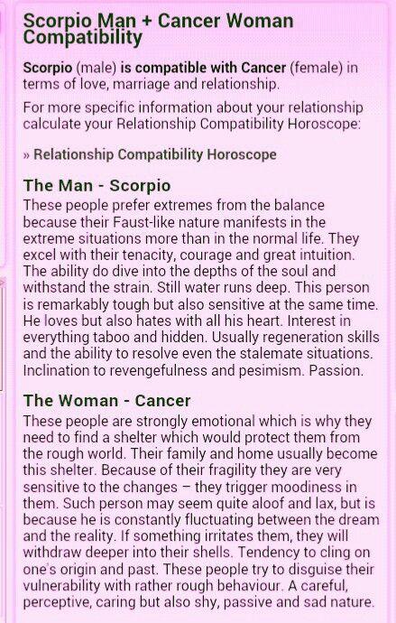 Scorpio woman dating cancer man