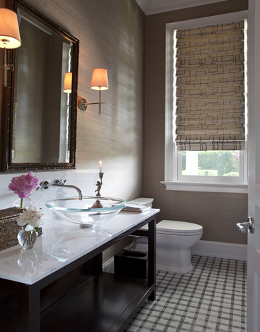 Beautiful Small Bathroom With Taupe Grasscloth Wallpaper Framing Black  Bamboo Mirror Flanked By Thomas Ou0027Brien Bryant Sconces Over Glossy Black  Washstand ...