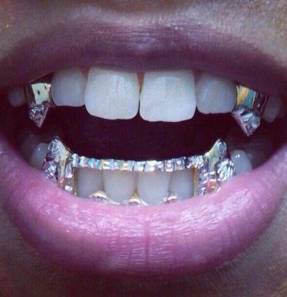 Vampire Platinum: Jewels Grillz Spiked Teeth Gold Vampire Teeth Bling Yonce