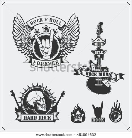 Rocknroll Music Symbols Labels Logos And Design Elements Rock
