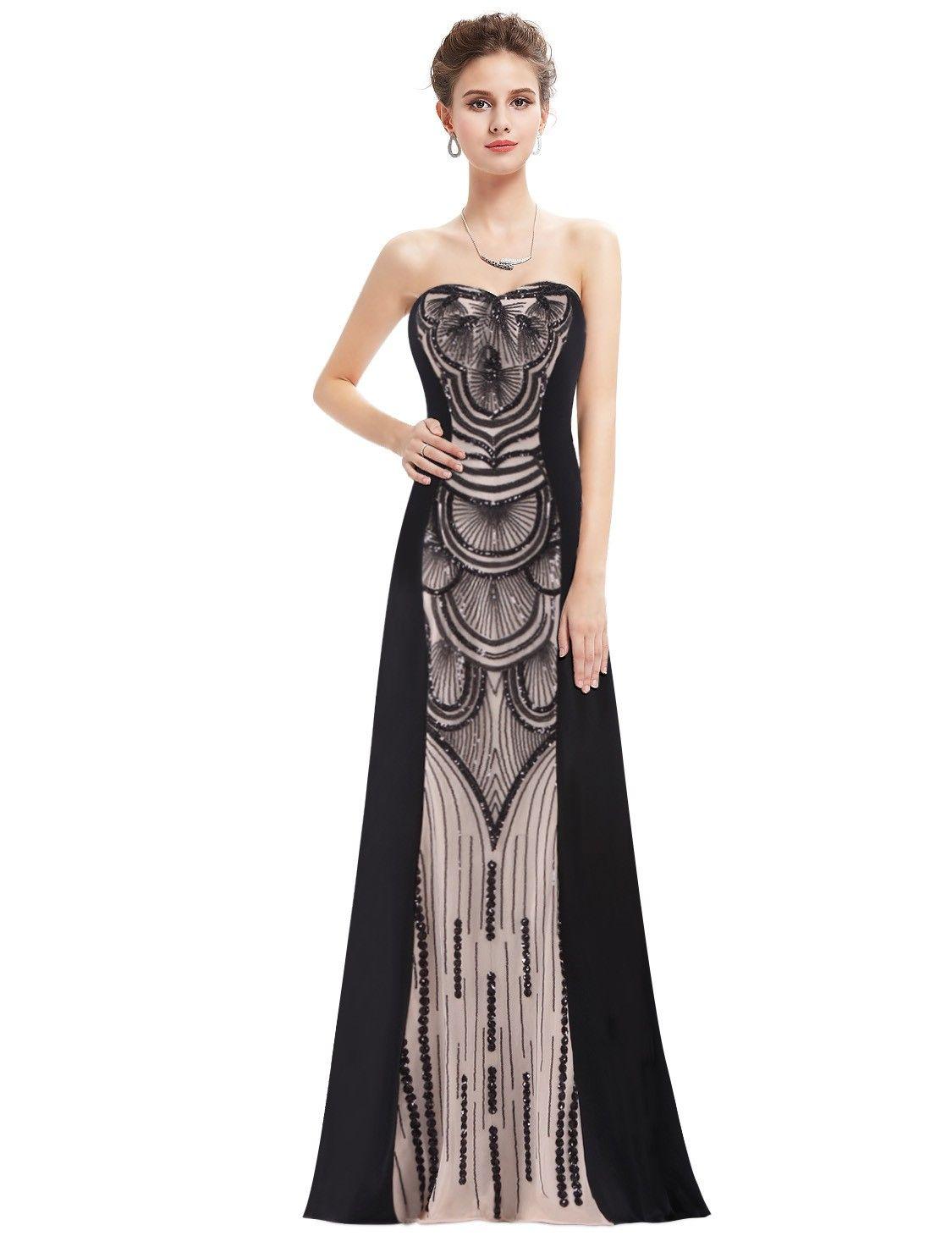 Strapless Floor Length Beaded Art Deco Evening Gown | \