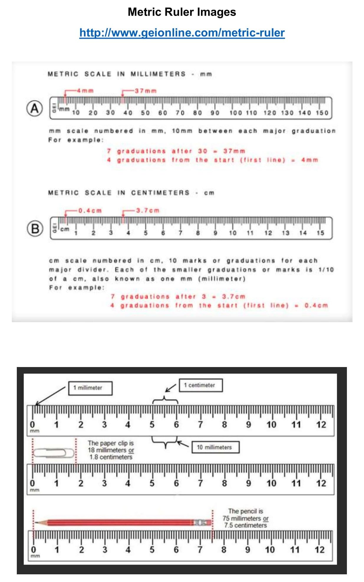 This Pin Gives Instructions On How To Read A Metric Ruler