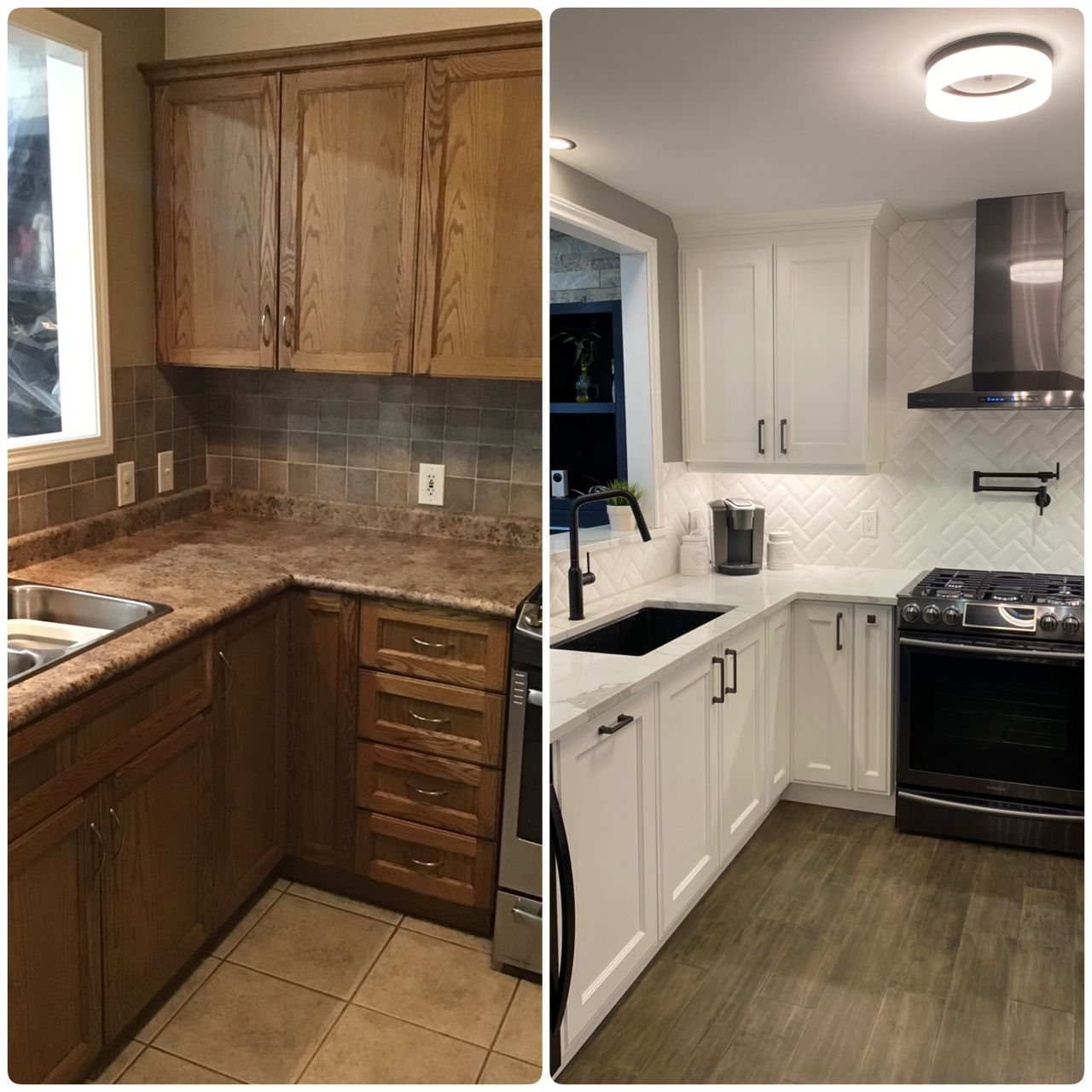 Before And After Dyi Kitchen Reno In 2020 Kitchen Black Stainless Appliances Kitchen Reno