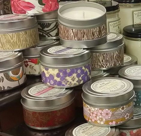 6 ounce candle tins...over 15 scents...burns clean..burn time 20+ hours