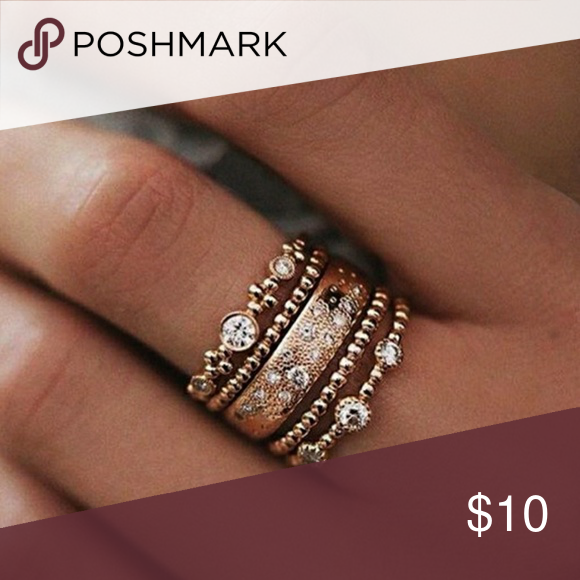 Stackable rings 5 rose gold tone stackable rings. New, never worn beautiful. Jewelry Rings