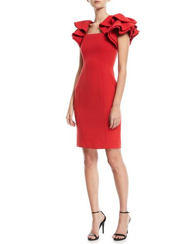 1b4bb276ecb89 Badgley Mischka Collection Ruffle-Sleeve Cocktail Dress   Products ...
