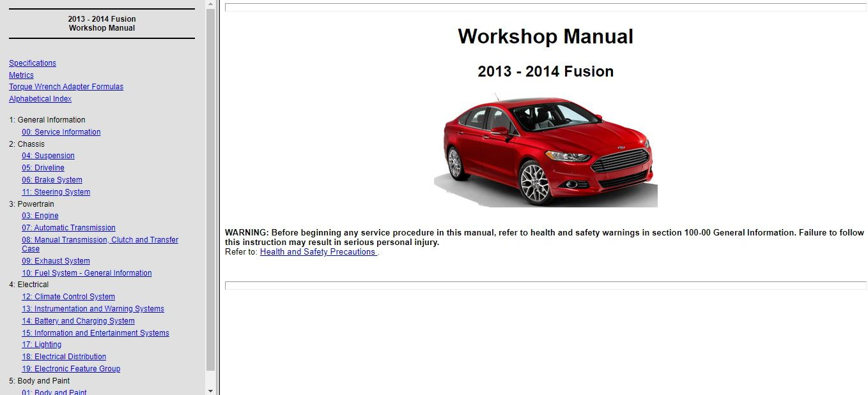 2013 2014 Ford Fusion Service Repair Manual Wiring Diagram Ford Fusion 2013 Ford Fusion Repair Manuals