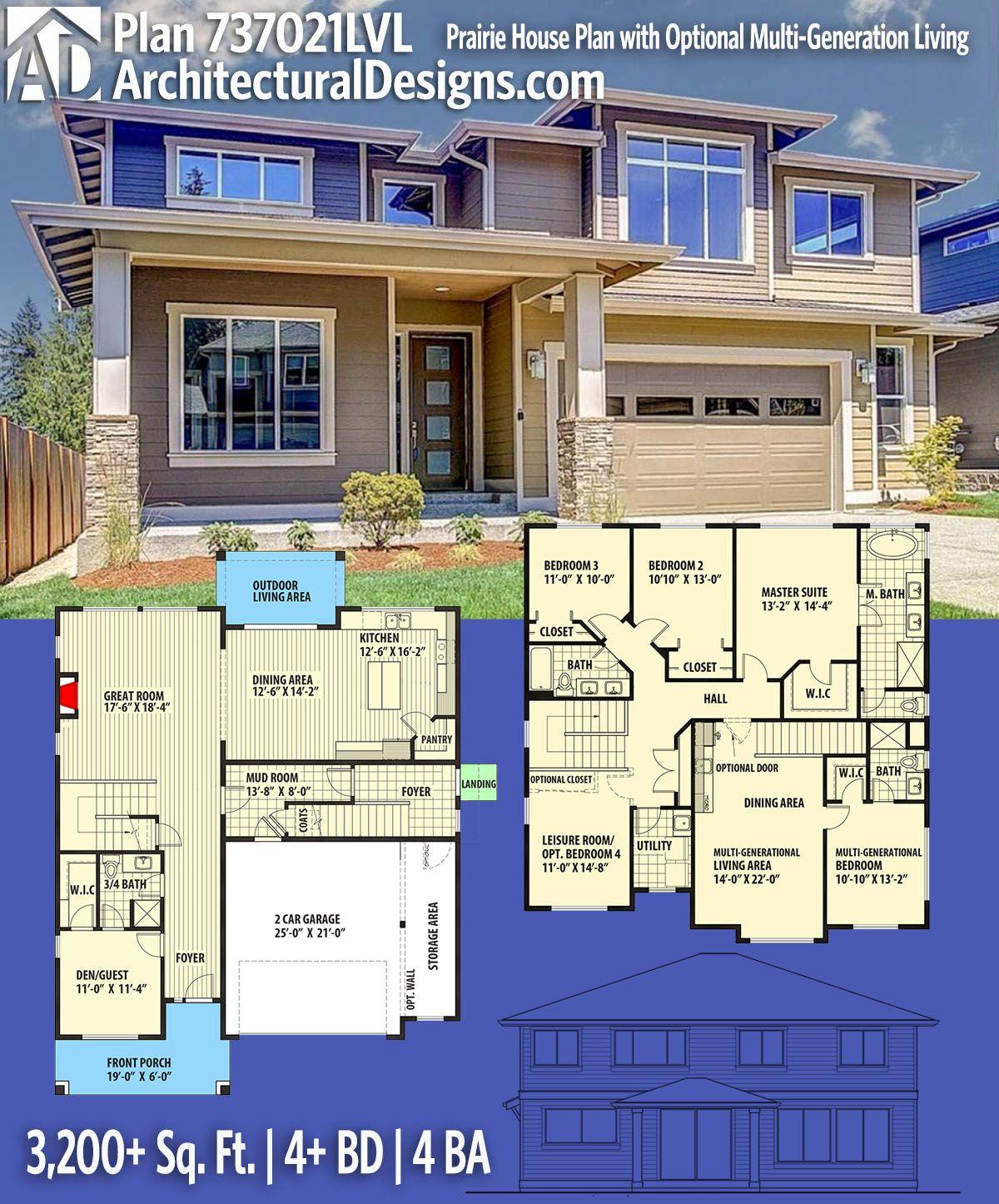 Plan lvl prairie house plan with optional multigeneration