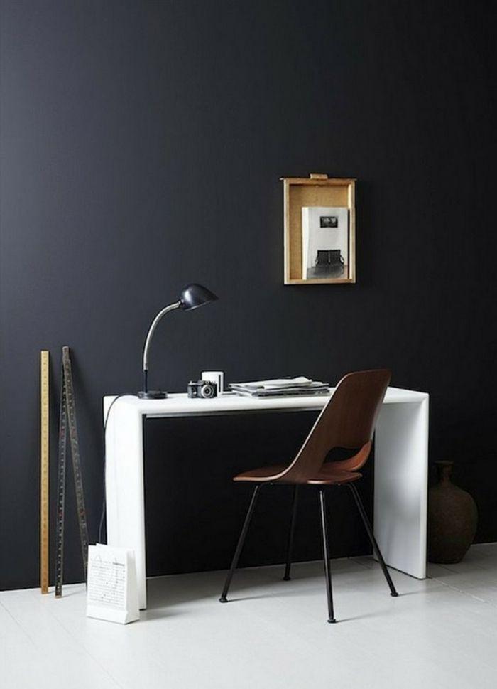 Wandfarbe Schwarz Home Office Weiße Möbel