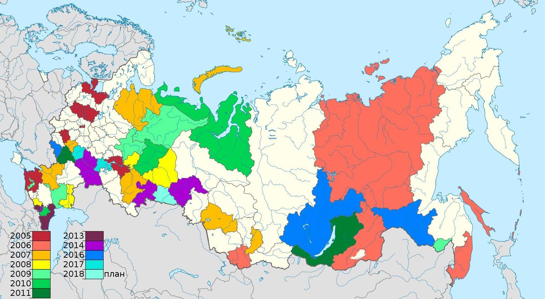 На карте обозначены субъекты Российской Федерации ...